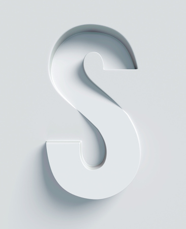 extruded: Letter S slanted 3d font engraved and extruded from the surface