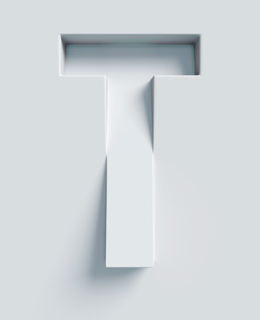 Letter T slanted 3d font engraved and extruded from the surface