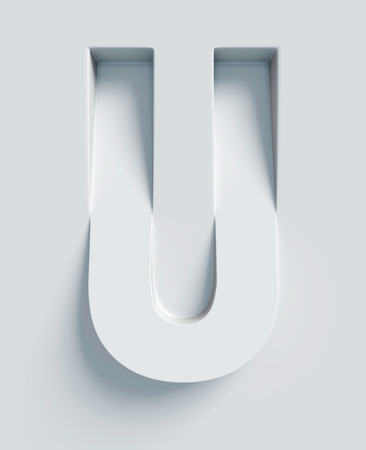 slanted: Letter U slanted 3d font engraved and extruded from the surface