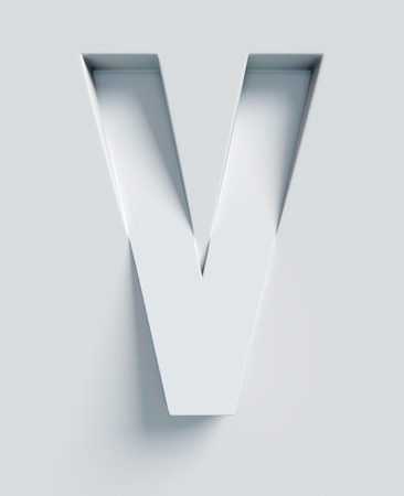 slant: Letter V slanted 3d font engraved and extruded from the surface