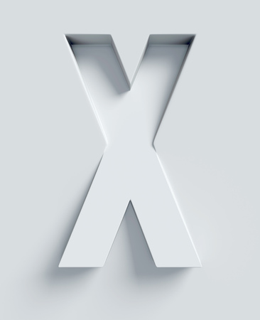 x stand: Letter X slanted 3d font engraved and extruded from the surface Stock Photo