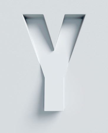 slanted: Letter Y slanted 3d font engraved and extruded from the surface Stock Photo
