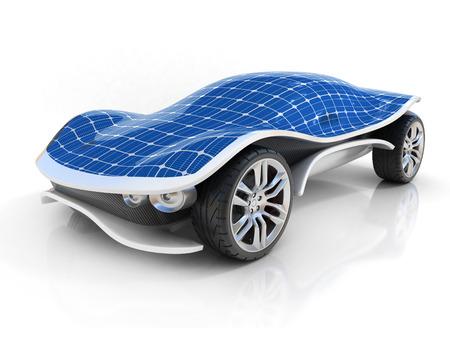 paneles solares: coche solar 3d concepto