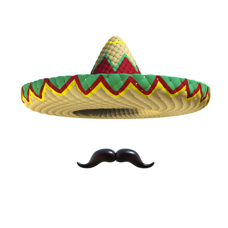 mexican culture: Mexican hat sombrero with mustache Stock Photo