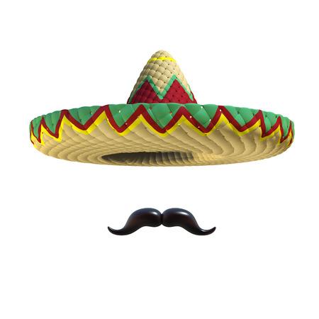 hut: Mexikanischer Hut Sombrero mit Schnurrbart