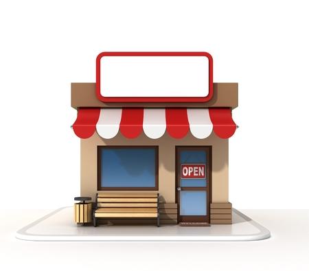 door to door: Store with copy space board Stock Photo
