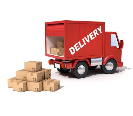 camion: furgoneta de reparto cargado de cajas de cartón
