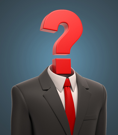 hiring: business suit with question mark