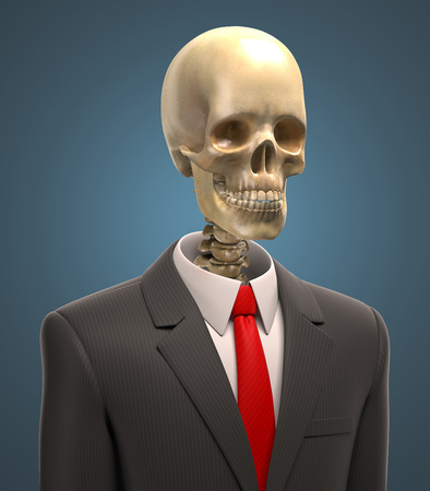 resign: skeleton in business suit 3d illustration