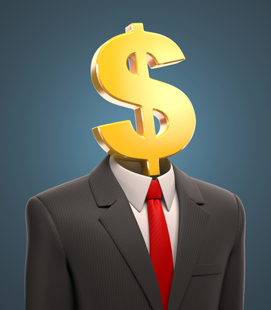 net worth: business man with a dollar sign for a head