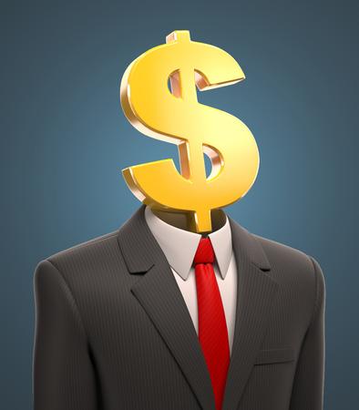signo pesos: hombre de negocios con un signo de dólar para un cabezal