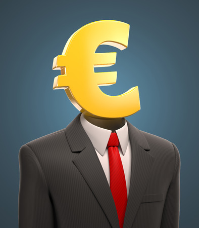 net worth: business man with a euro sign for a head