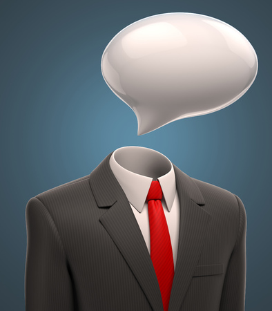 speech bubble: business man with a speech bubble for a head