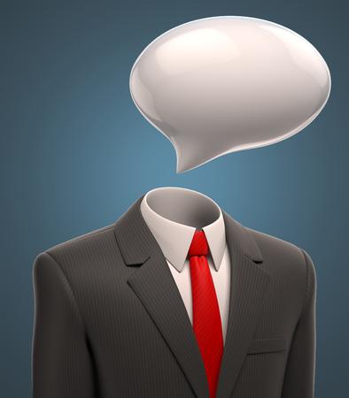 speech: business man with a speech bubble for a head