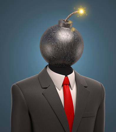 temper: business man with a bomb for a head Stock Photo