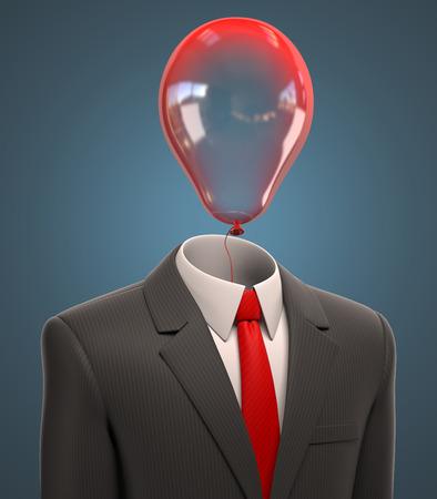 alegria: hombre de negocios con el globo de la cabeza 3d ilustración Foto de archivo