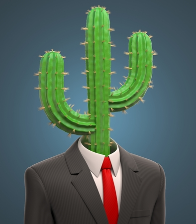 metaphysical: business man with a cactus for a head Stock Photo