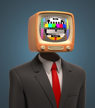 retro tv: business man with retro tv on his head Stock Photo