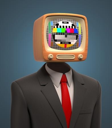 ver television: hombre de negocios con tv retro en la cabeza