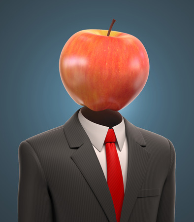 man head: business man with an apple for a head