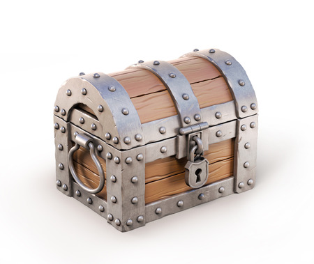 closed treasure chest 3d illustration
