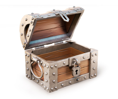 treasure: empty treasure chest 3d illustration