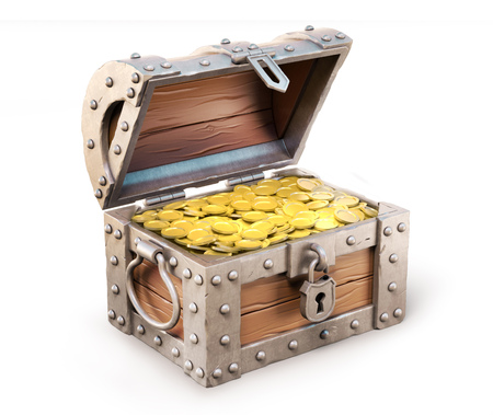 trunks: treasure chest 3d illustration Stock Photo