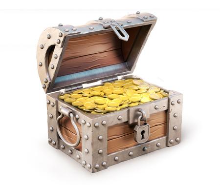 gold treasure: treasure chest 3d illustration Stock Photo