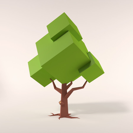 low poly: stylized geometric tree 3d illustration Stock Photo