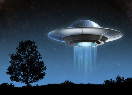 night: Alien spaceship - ufo Stock Photo