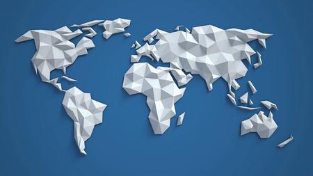 3d triangular world map