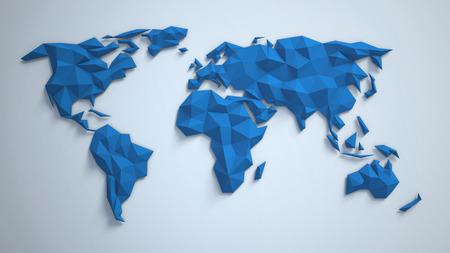 3d driehoekige wereldkaart Stockfoto