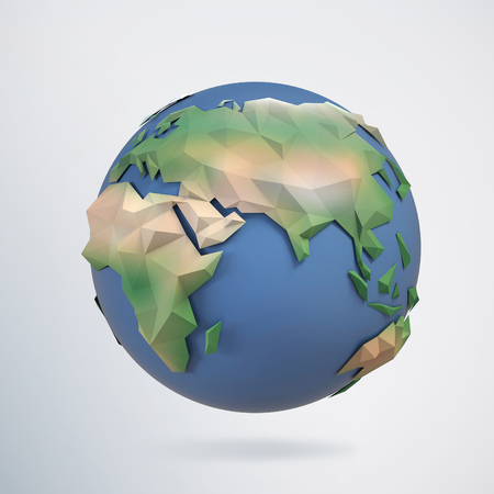 earth globe: 3d triangular globe Stock Photo