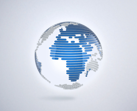 continent: abstract 3d globe Stock Photo