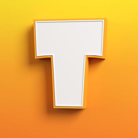 character design: cartoon 3d font letter T Stock Photo