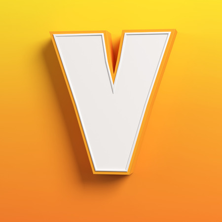 v shape: cartoon 3d font letter V Stock Photo