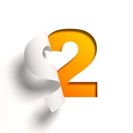 number 2: Curl paper font number 2