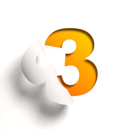 Curl paper font number 3 Standard-Bild