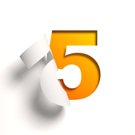 five: Curl paper font number 5