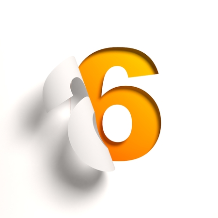 Curl paper font number 6