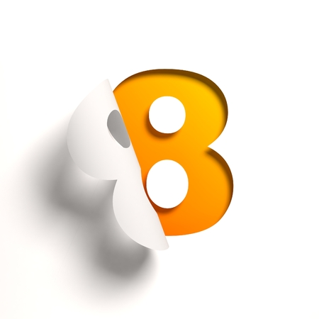 yellow sign: Curl paper font number 8