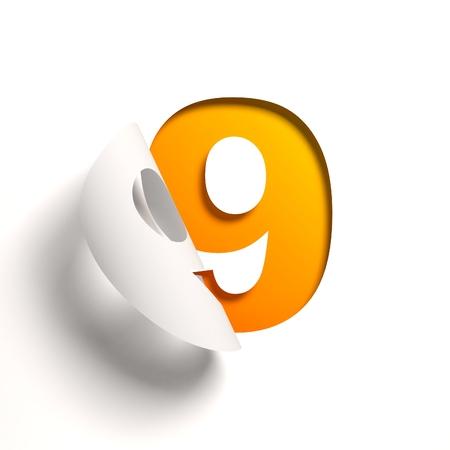 Curl paper font number 9 Standard-Bild