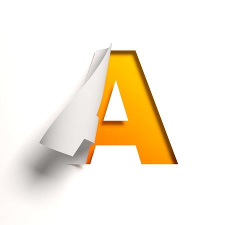 Curl paper font letter A