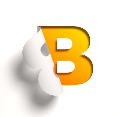 yellow: Curl paper font letter B Stock Photo