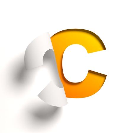 letter c: Curl paper font letter C Stock Photo