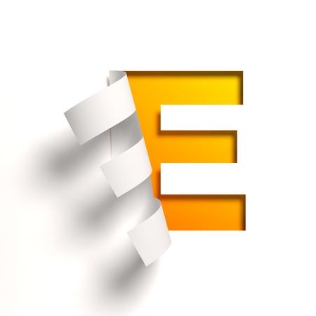 Curl paper font letter E Standard-Bild