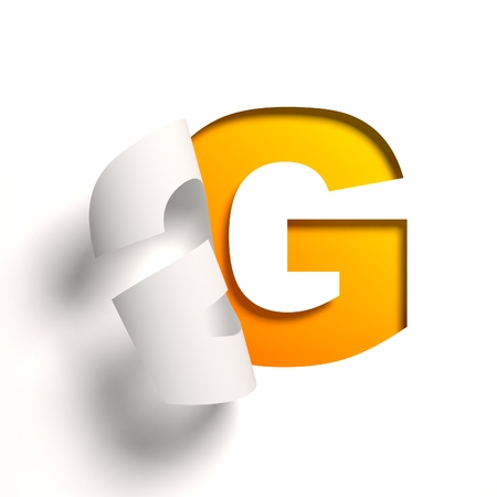 at yellow: Curl paper font  letter G