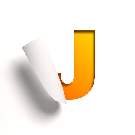 yellow: Curl paper font  letter J Stock Photo