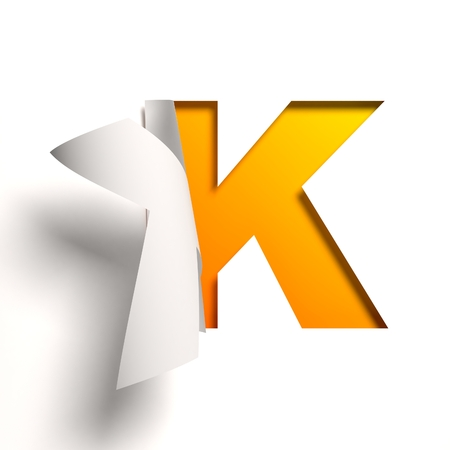 turn yellow: Curl paper font  letter K