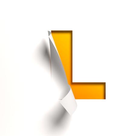 Curl paper font  letter L